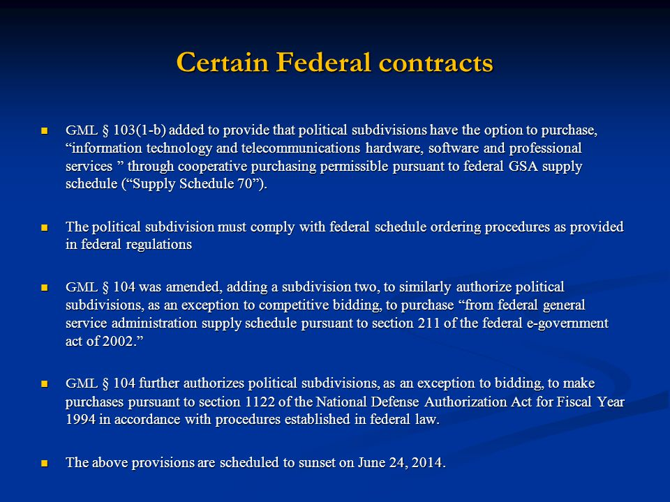 Certain Federal contracts