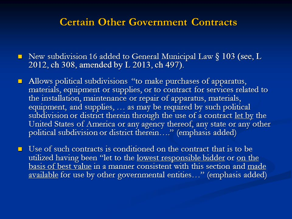 Certain Other Government Contracts