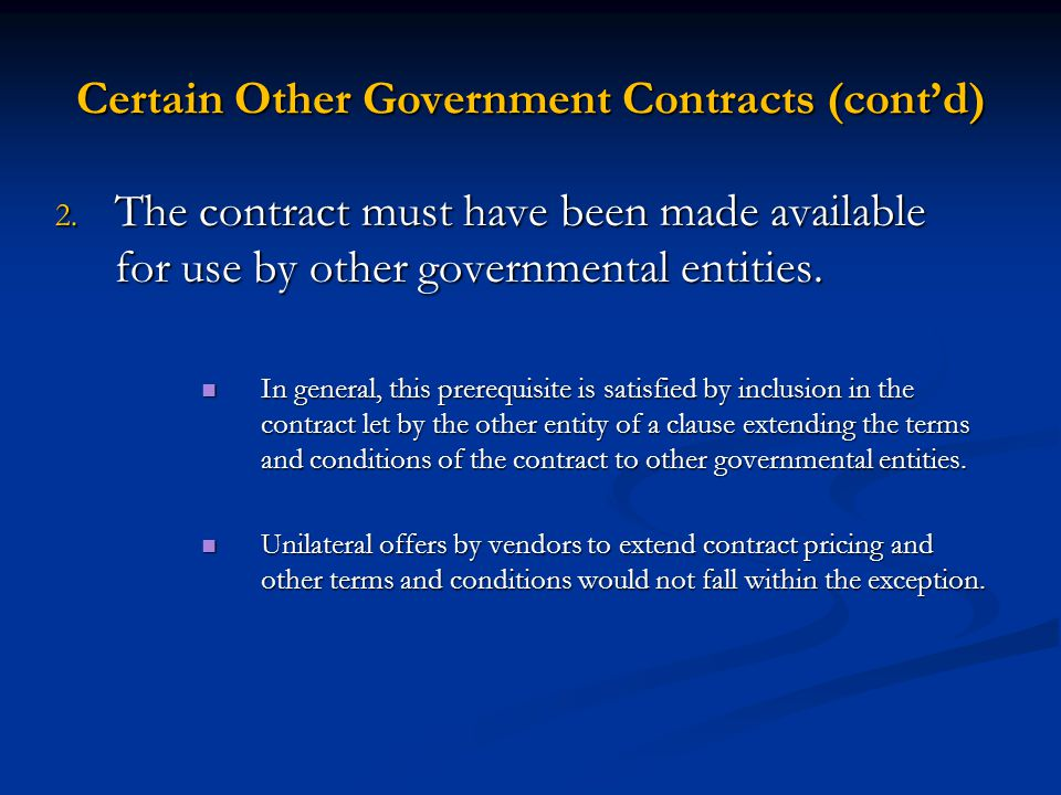 Certain Other Government Contracts (cont'd)