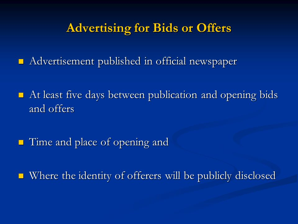Advertising for Bids or Offers