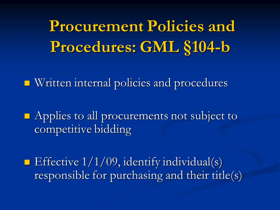 Procurement Policies and Procedures: GML §104-b