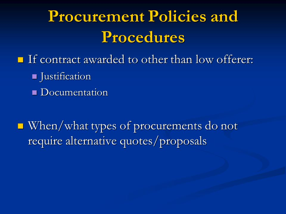 Procurement Policies and Procedures