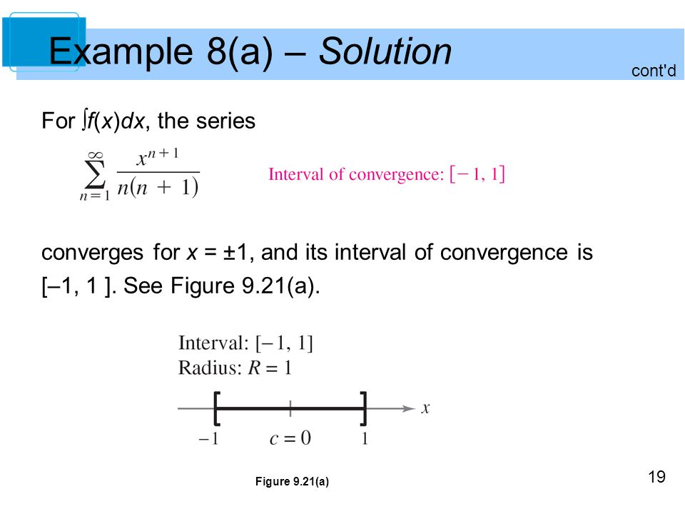 Example 8(a) – Solution For ∫f(x)dx, the series