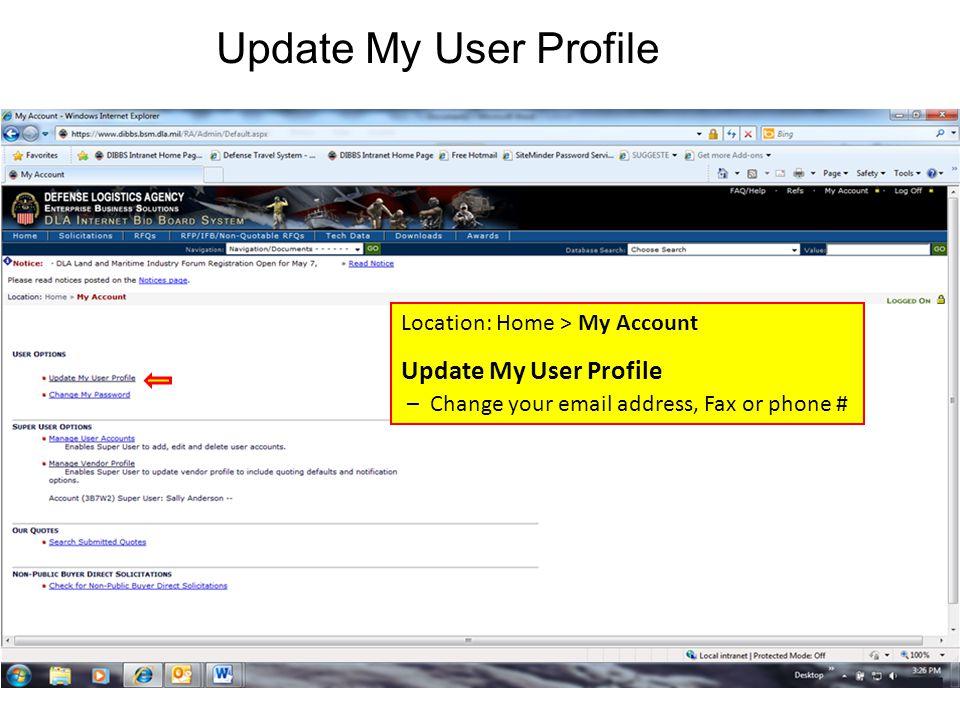 Update My User Profile Update My User Profile