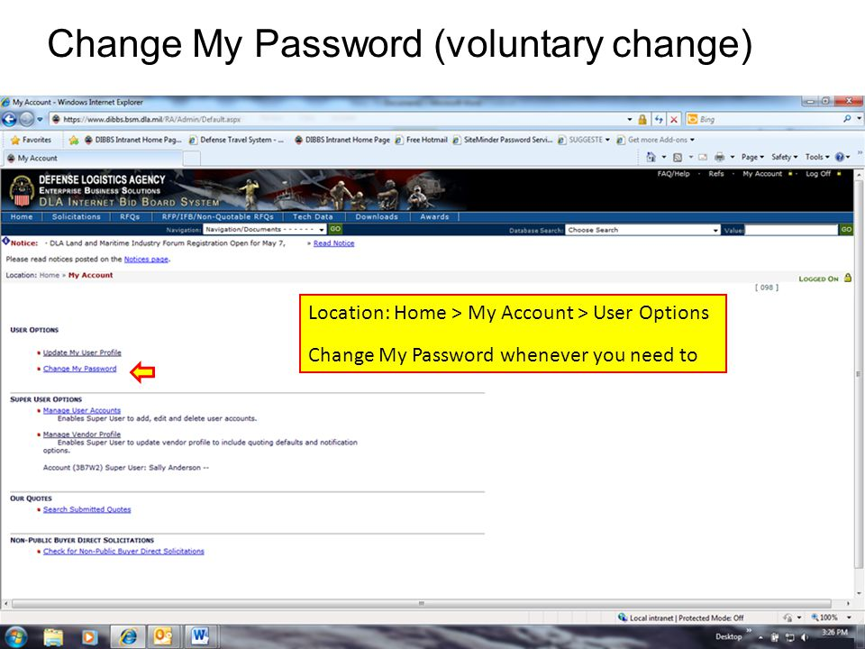 Change My Password (voluntary change)