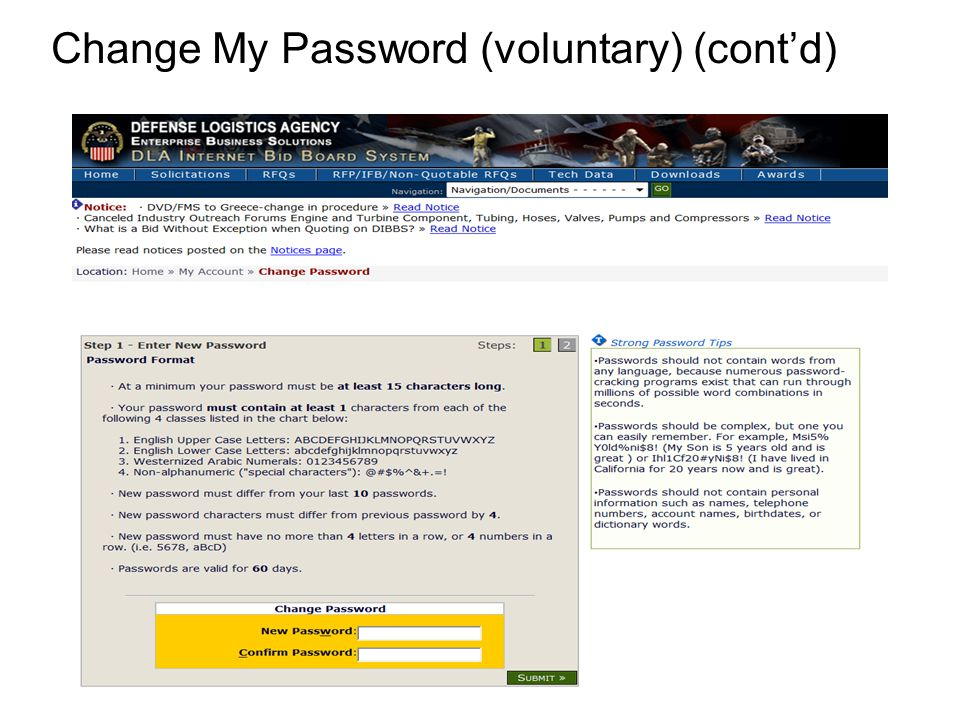 Change My Password (voluntary) (cont'd)