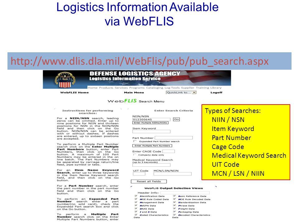 Logistics Information Available via WebFLIS
