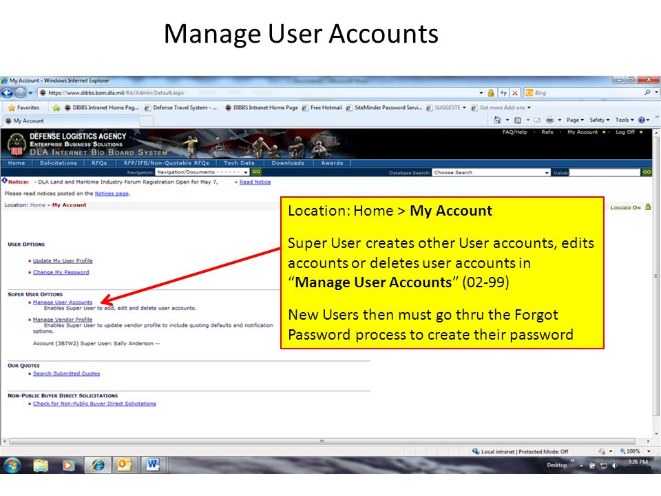 Manage User Accounts Location: Home > My Account