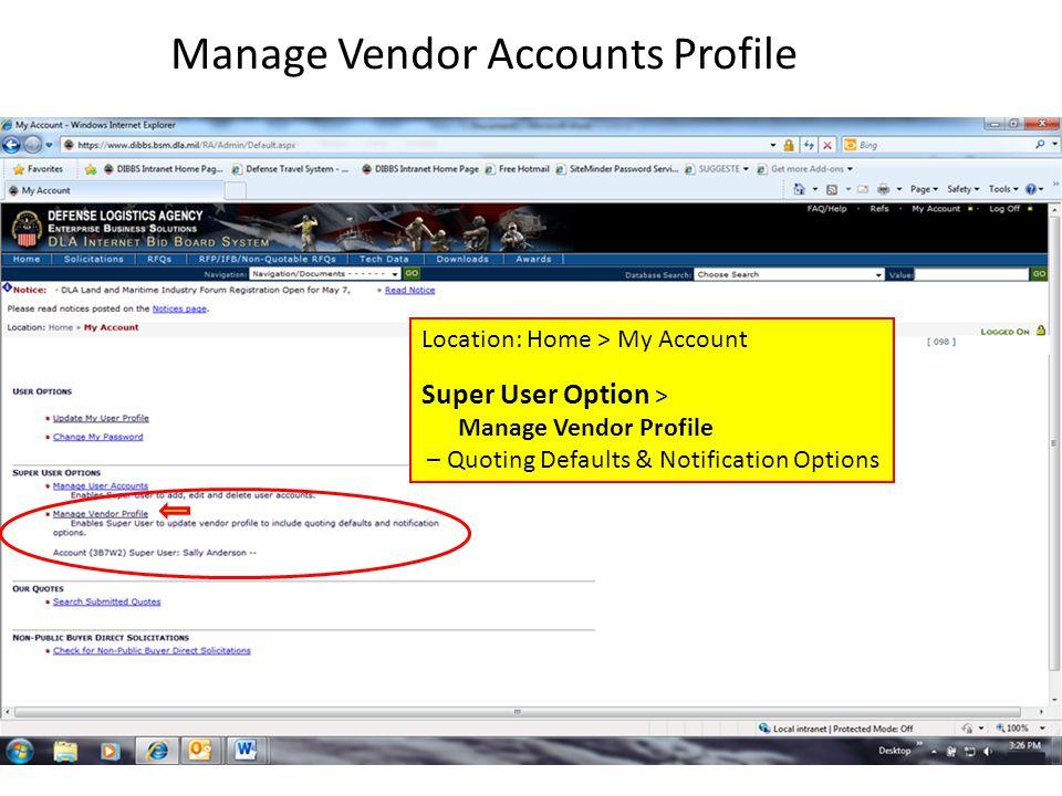 Manage Vendor Accounts Profile