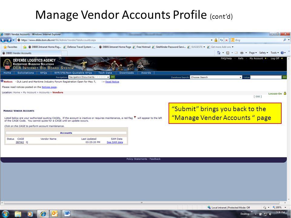 Manage Vendor Accounts Profile (cont'd)
