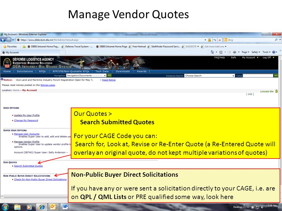 Manage Vendor Quotes Our Quotes > Search Submitted Quotes