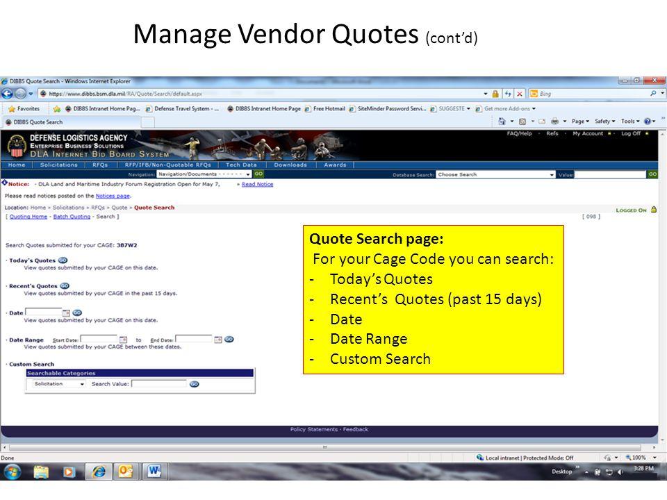 Manage Vendor Quotes (cont'd)