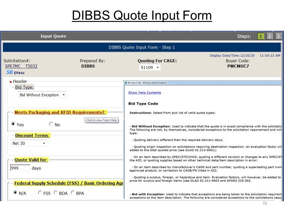 DIBBS Quote Input Form