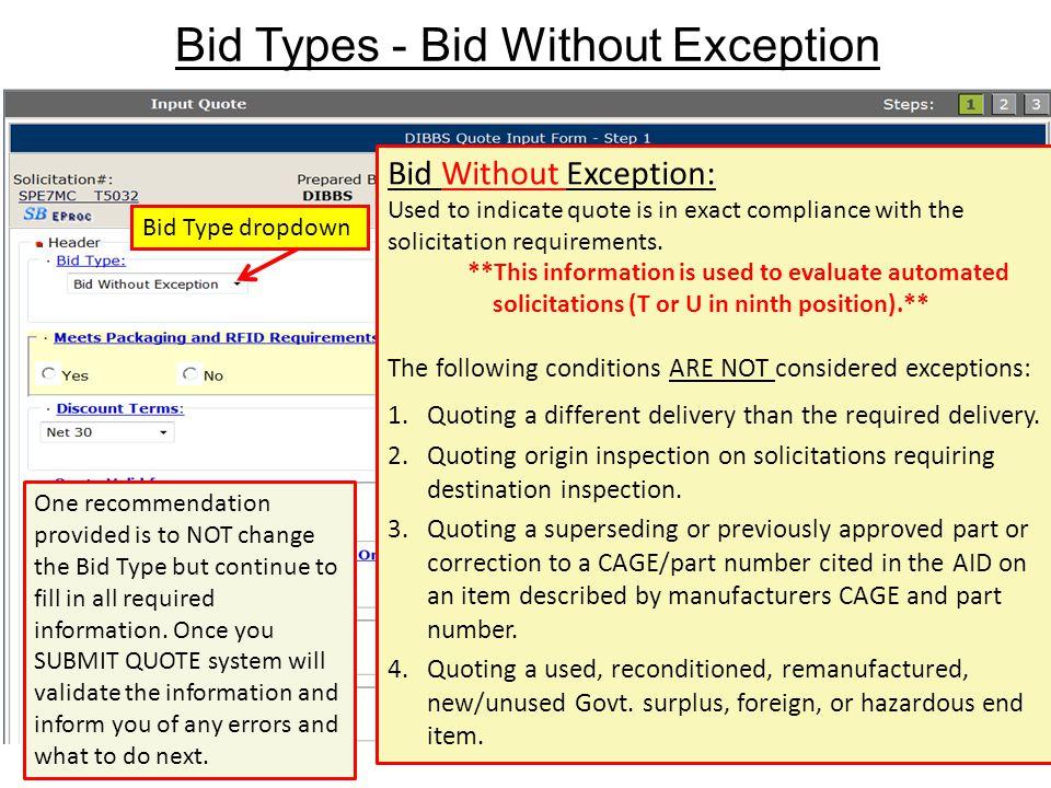 Bid Types - Bid Without Exception