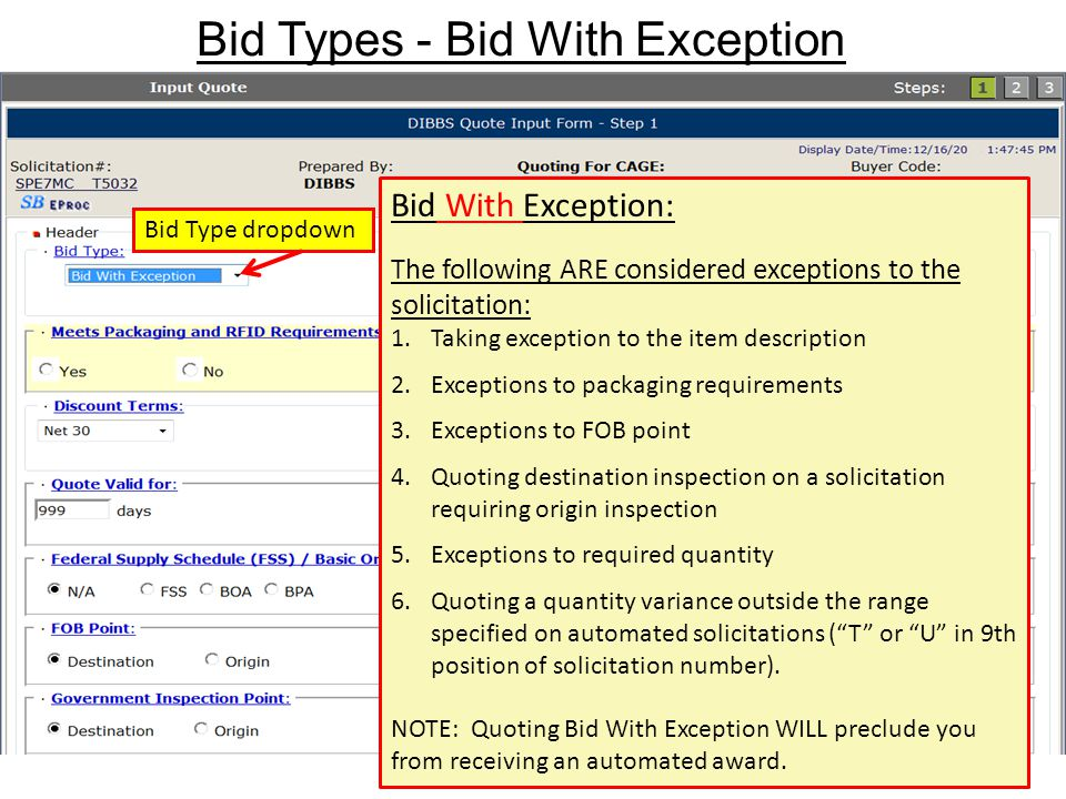 Bid Types - Bid With Exception