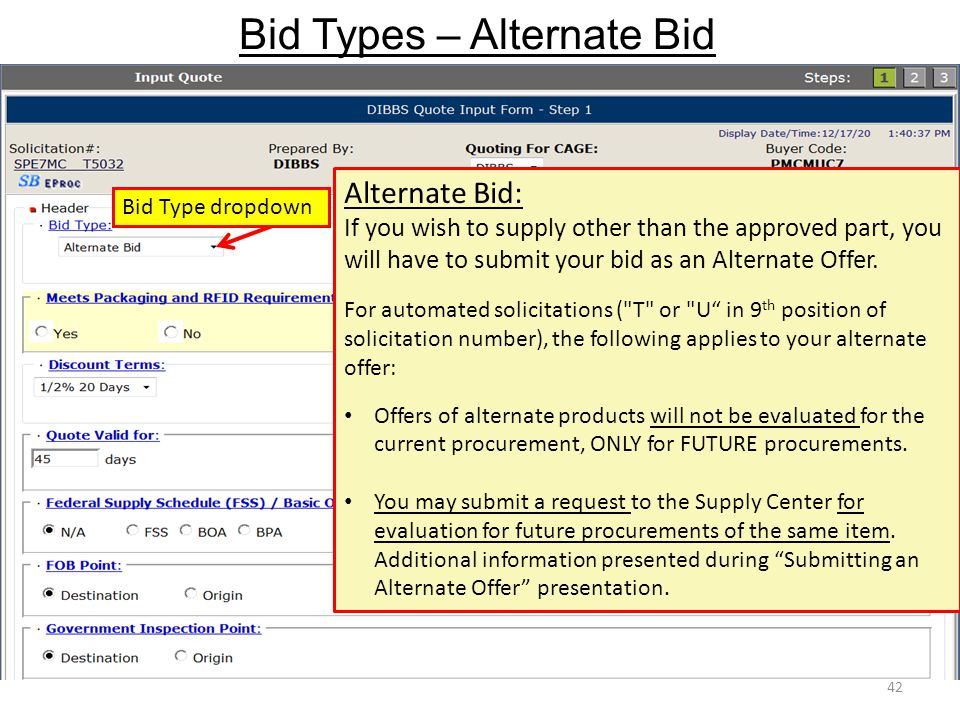 Bid Types – Alternate Bid
