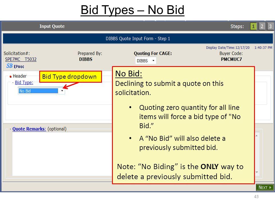 Bid Types – No Bid No Bid: