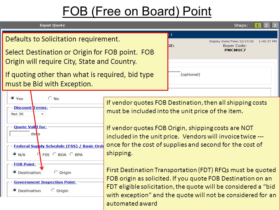 FOB (Free on Board) Point