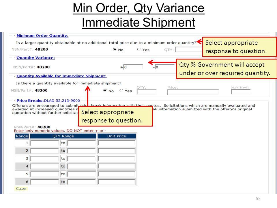 Min Order, Qty Variance Immediate Shipment