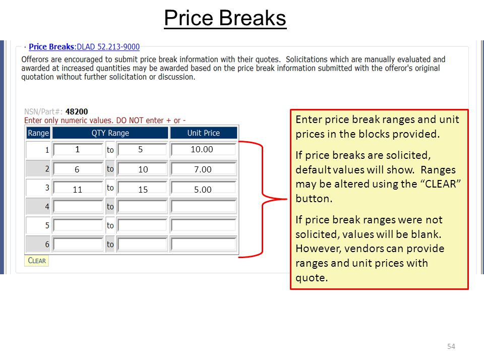 Price Breaks Enter price break ranges and unit prices in the blocks provided.