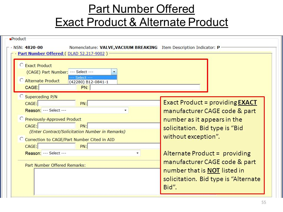 Part Number Offered Exact Product & Alternate Product