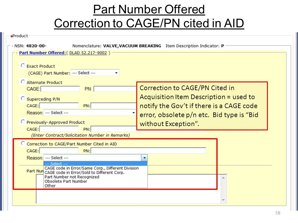 Part Number Offered Correction to CAGE/PN cited in AID