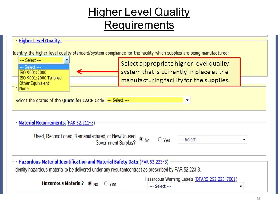 Higher Level Quality Requirements
