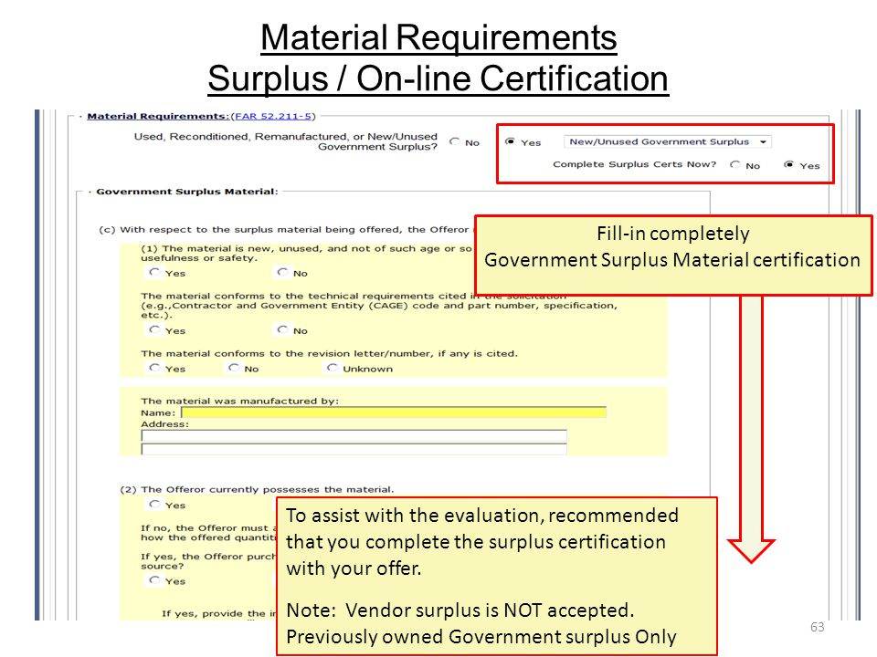 Material Requirements Surplus / On-line Certification