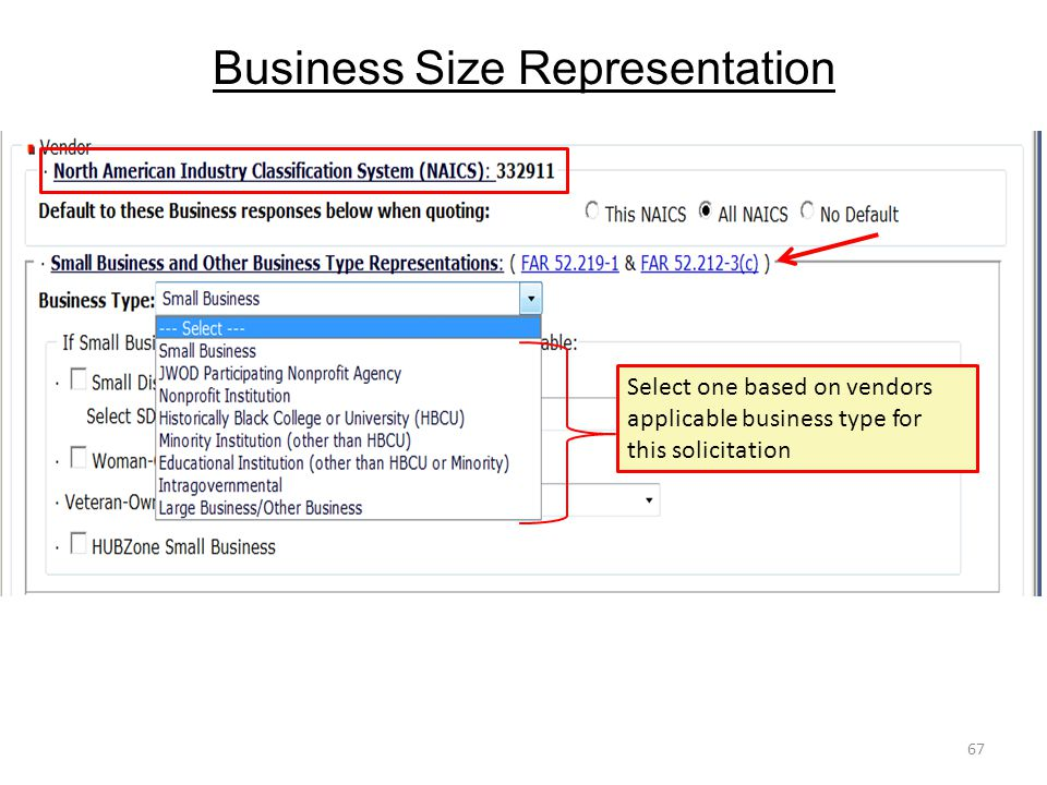 Business Size Representation