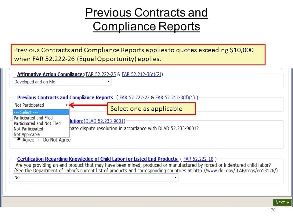 Previous Contracts and Compliance Reports
