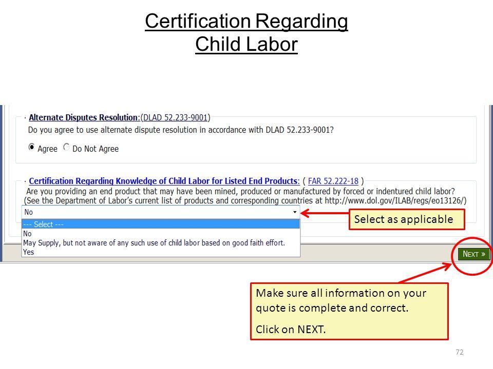 Certification Regarding Child Labor