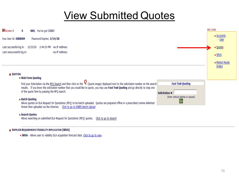 View Submitted Quotes