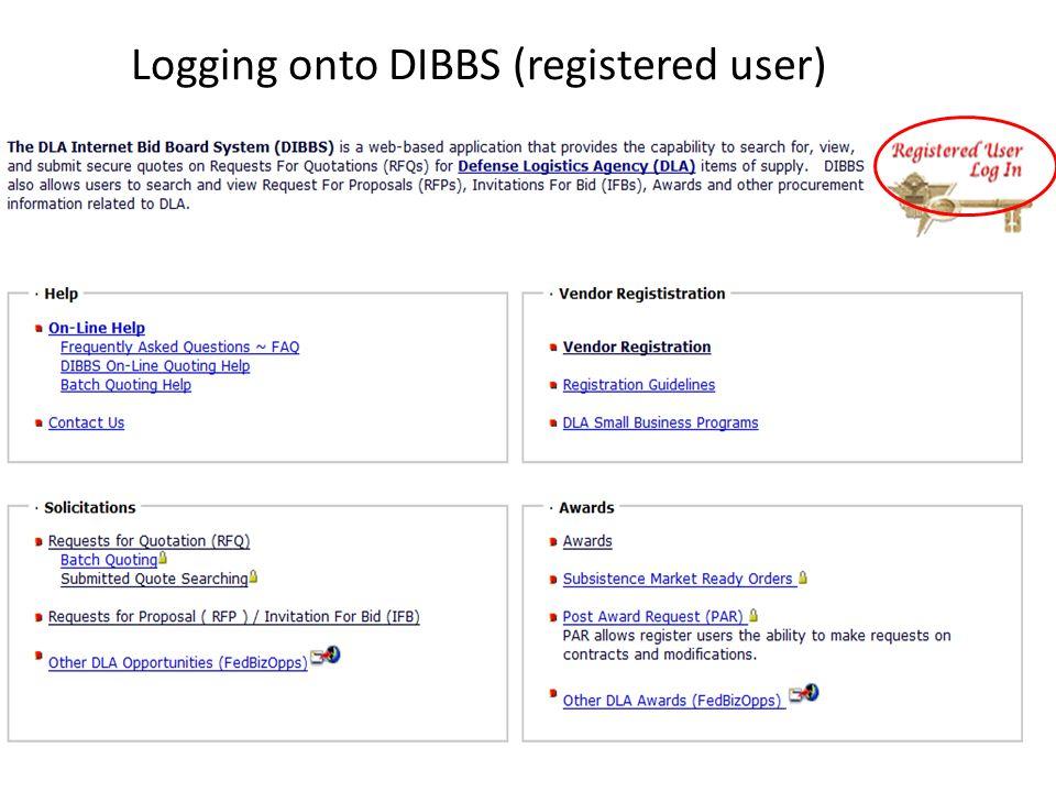 Logging onto DIBBS (registered user)