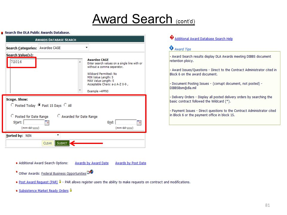 Award Search (cont'd)