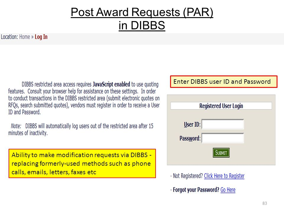 Post Award Requests (PAR) in DIBBS
