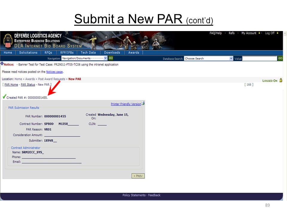 Submit a New PAR (cont'd)