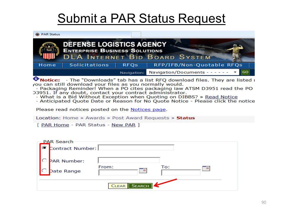 Submit a PAR Status Request