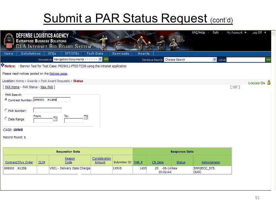 Submit a PAR Status Request (cont'd)