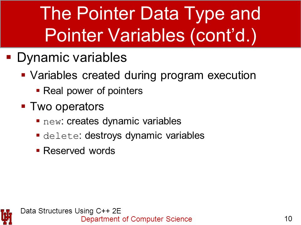 The Pointer Data Type and Pointer Variables (cont'd.)