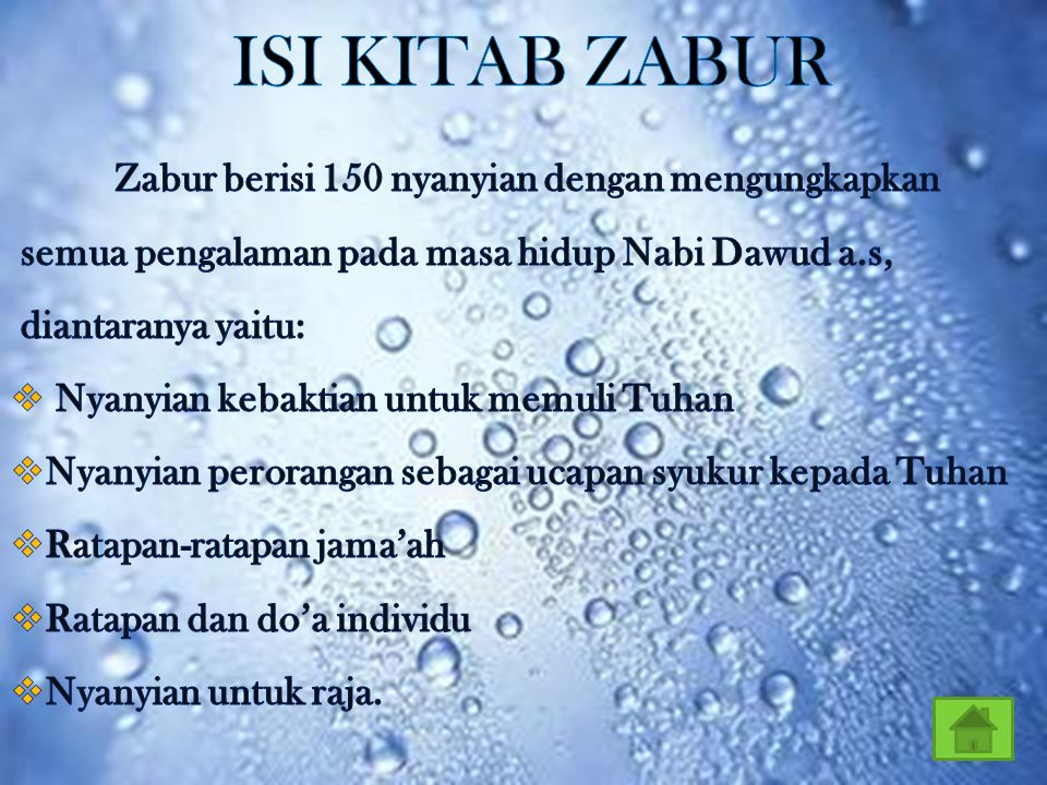 ISI KITAB ZABUR semua pengalaman pada masa hidup Nabi Dawud a.s,