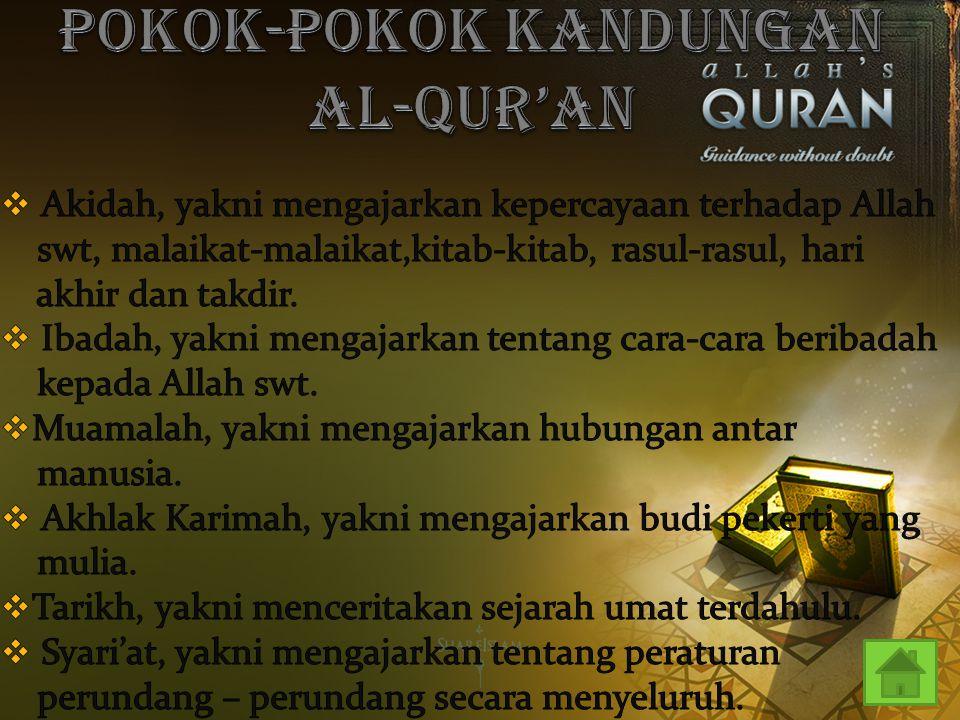POKOK-POKOK KANDUNGAN AL-QUR'AN