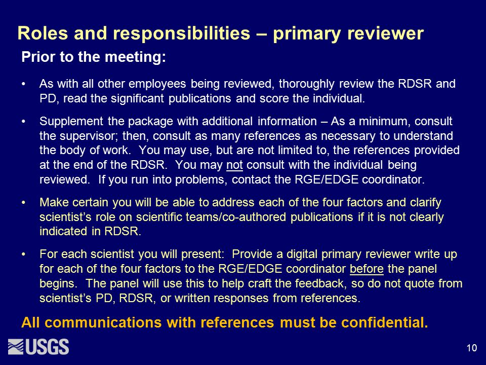 Roles and responsibilities – primary reviewer