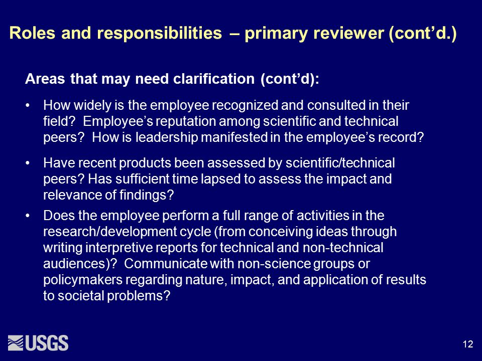 Roles and responsibilities – primary reviewer (cont'd.)