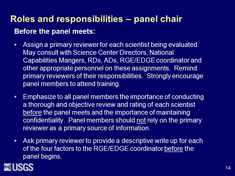 Roles and responsibilities – panel chair