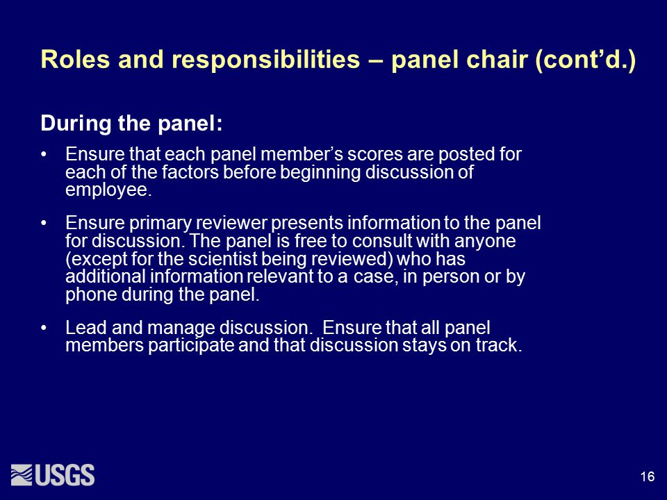 Roles and responsibilities – panel chair (cont'd.)