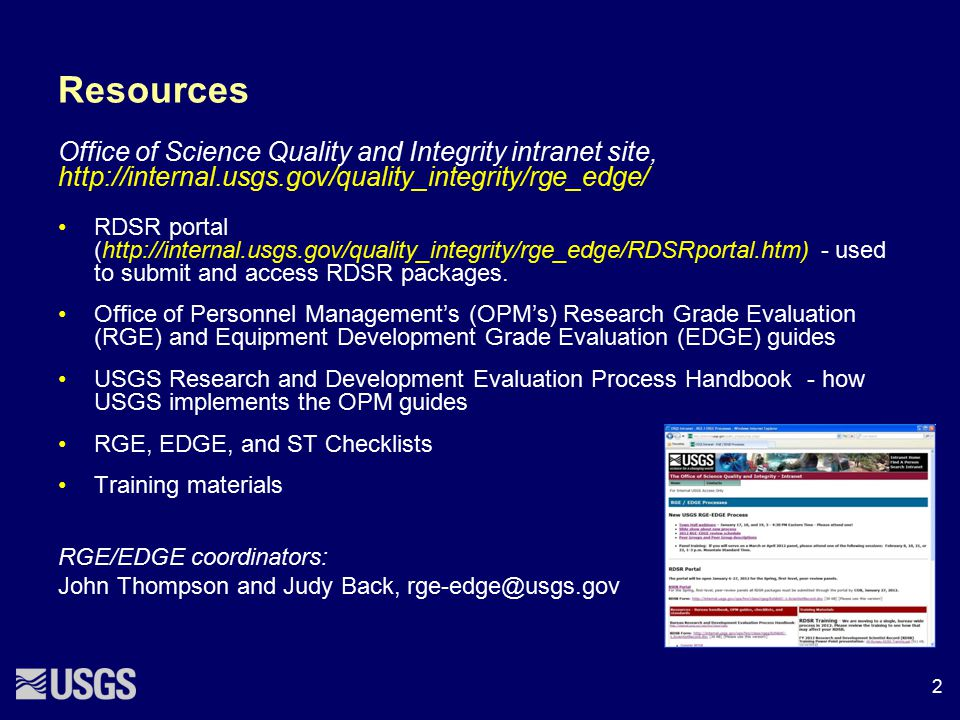 Resources Office of Science Quality and Integrity intranet site, http://internal.usgs.gov/quality_integrity/rge_edge/