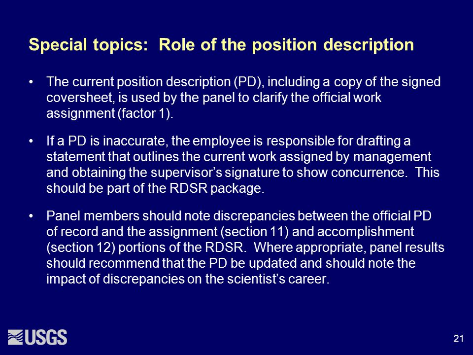 Special topics: Role of the position description
