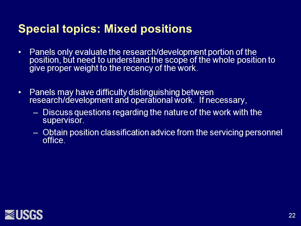 Special topics: Mixed positions
