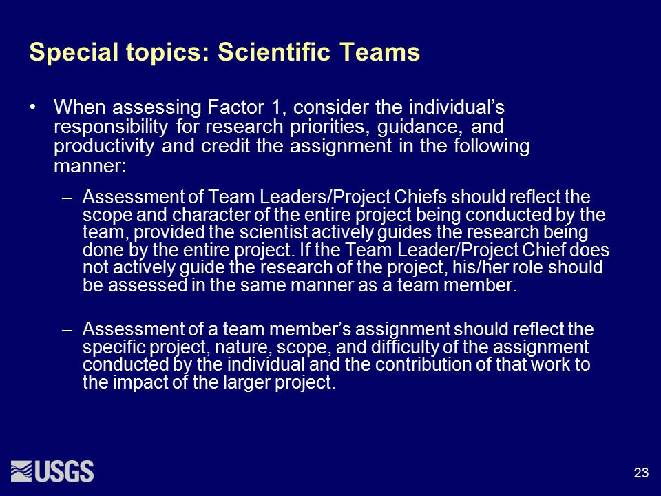 Special topics: Scientific Teams