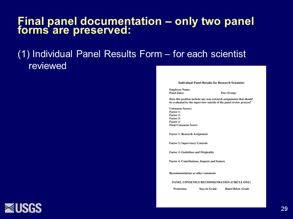 Final panel documentation – only two panel forms are preserved: